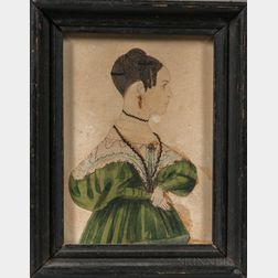 American School, Mid-19th Century      Miniature Portrait of a Woman in a Green Dress