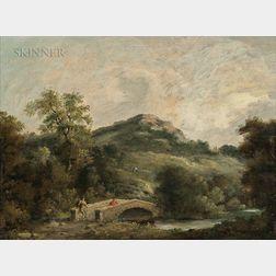 Attributed to Thomas Gainsborough (British, 1727-1788)      Figures on a Bridge
