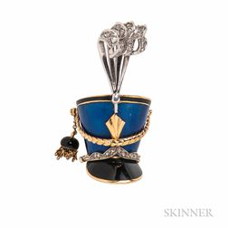 18kt Gold and Enamel Shako Brooch