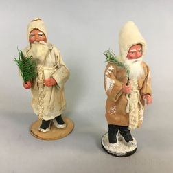Two Carved and Painted Wood and Papier-mache Santa Claus Candy Containers