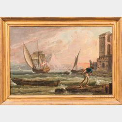 Continental School, 19th Century      Seaside Scene with Ship Flying a Danish Flag