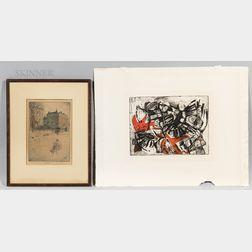 Two Fine Art Prints:      Charles Frederick William Mielatz (American, 1864-1919), Washington Square North