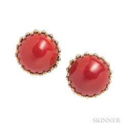 14kt Bicolor Gold and Coral Earclips