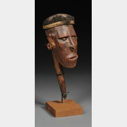 New Guinea Carved Wood Head on Short Pointed Staff