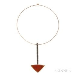 Modernist Gold, Fire Opal, and Diamond Necklace