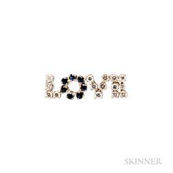Platinum, Diamond, and Sapphire Love Pin