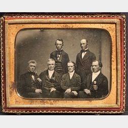 Quarter Plate Daguerreotype of Six Historical Figures