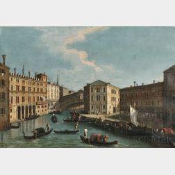 School of Canaletto (Italian, 1697-1768)      Rialto Bridge from the North, Venice