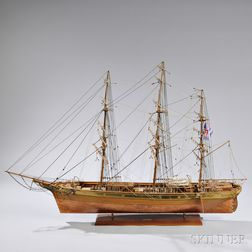 Large Wood and Sheet Metal Model of the British Clipper Ship Cutty Sark