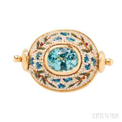"""18kt Gold, Blue Zircon, and Micromosaic """"Mimosa"""" Ring, Le Sibille"""