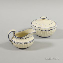 Two Bamboo-form White Stoneware Items Attributed to Mayer