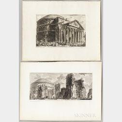 Giovanni Battista Piranesi (Italian, 1720-1778)    Six Engravings of Views and Plans of The Pantheon