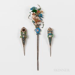 Ornamental Kingfisher Feather Hairpins