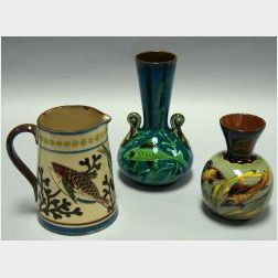 Aller Vale Sgraffito Fish Jug, a Watcombe Fish Vase, and an Exeter Fish Vase.