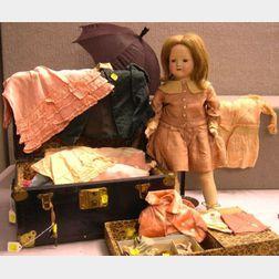 "Effanbee ""Rosemary"" Mama-type doll with Trunk and Wardrobe"