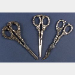 Three Pairs of Sterling Handled Grape Shears