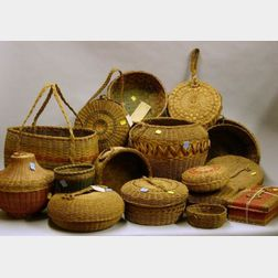 Seventeen Assorted Woven Splint and Grass Baskets
