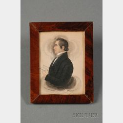 James Sanford Ellsworth (American, 1802/03- 1874)      Portrait Miniature of a Gentleman Holding a Book.