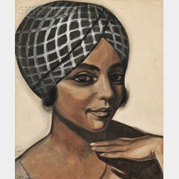 Sergei Yurievich Soudeikine (Russian, 1883-1946) Portrait of a Woman with Headwrap, Possibly Anne Wiggins Brown from Porgy and Bess ...