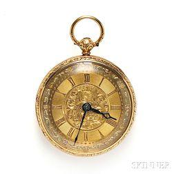 Antique 18kt Tricolor Gold Open Face Pocket Watch