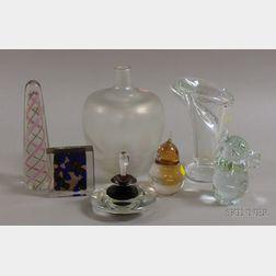 Seven Assorted Pieces of Modern Art Glass