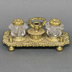 Cast Brass and Glass Inkstand