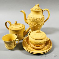 Seven Mostly Wedgwood Caneware Items