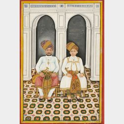 Miniature Portrait Painting of Two Rajas