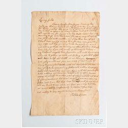 Irish Indentured Servant Letter, New England, 18th Century.