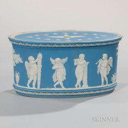 Wedgwood Light Blue Jasper Dip Bough Pot and Cover