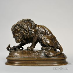 After Antoine-Louis Barye (French, 1795-1875)       Bronze Figure of a Lion and Snake