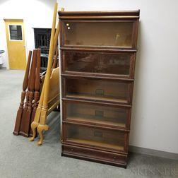 Globe-Wernicke Oak Five-stack Barrister Bookcase