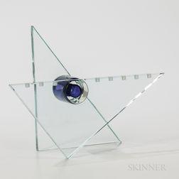 Modernist Art Glass Menorah