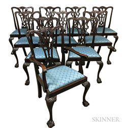 Set of Ten Chippendale-style Carved Mahogany Dining Chairs