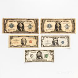 Five Pieces of American Paper Money
