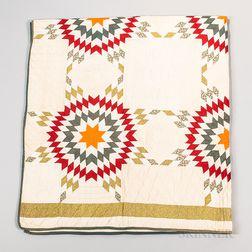 Hand-stitched Star Pattern Quilt
