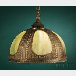 Slag Glass and Metal Hanging Lamp