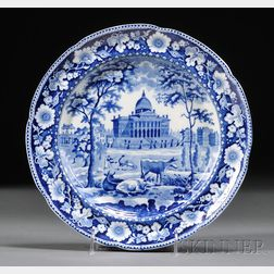 Historical Blue Transfer-decorated Staffordshire Pottery Dinner Plate