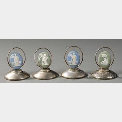 Four Wedgwood Jasper-mounted Silver Place Card Holders