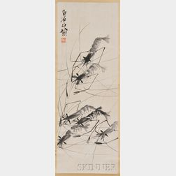Stone Head and a Hanging Scroll