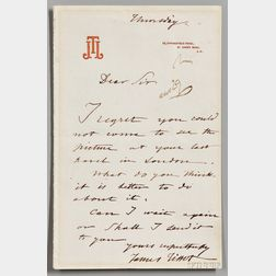 Tissot, James (1836-1902) Autograph Letter Signed, undated.