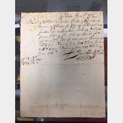 Allen, Jeremiah (1673-1741) Autograph Document Signed 7 June 1717.