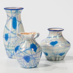 Three Imperial Glass Vases with Hearts and Vine Decoration
