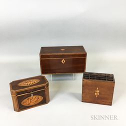 Two Georgian Inlaid Mahogany Tea Caddies and an Inlaid Walnut Cutlery Box