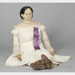 Large No. 12 Papier-mache Shoulder Head Doll by Greiner