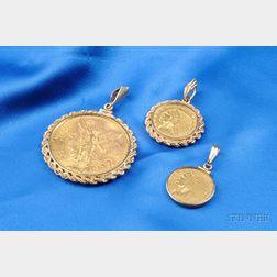 Three Gold Coin Pendants