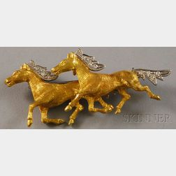 18kt Bicolor Gold and Diamond Brooch of Two Running Horses