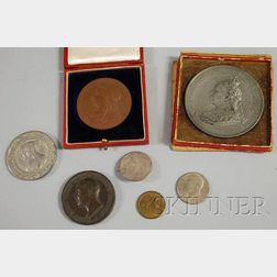 Seven Queen Victoria Related Medallions and Other Coins