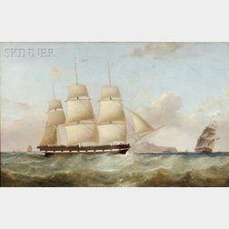 Attributed to Samuel Walters (British, 1811-1882)      Ship Ellen Brooks, Off Holyhead, Homeward Bound, 1839