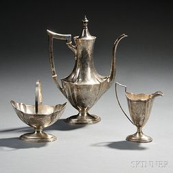 Three-piece Gorham Plymouth Engraved   Pattern Sterling Silver